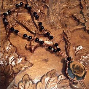 Jewelry - Necklace Green Brown Hematite , black Onyx Cooper